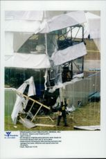 Damage to a production tower after the explosion in Centennial Olympic Park