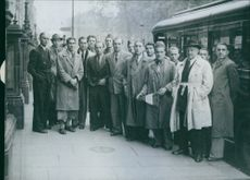 The French soccer team photographed on arrival at their London hotel, 1945.