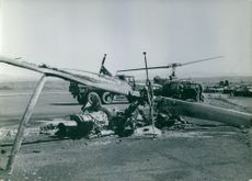 Scene of a destroyed helicopter.  - 1965