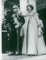 King Konstantin and Queen Anne-Marie of Greece leave the church after the celebration of Greece's independence