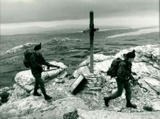 British Soldier on patrol in the Falklands