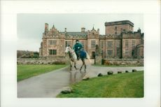 Lucinda Green with horse 'One Man' at Greystoke Castle