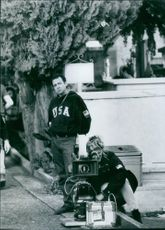 """Director Paul Weiland on the set of the film """"Roseanna's Grave"""", 1997."""