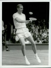 Ulf Schmidt in action against Britain's Babby Wilson during the Davis Cup in Wimbledon