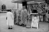 A woman at some newspaper stand outside a kiosk