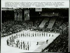 The final ceremony with the nations flags in the arena during the 1980 Winter Olympics