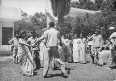 A missing Jewish tribe after some years of exile. In this photo they are learning the native dance in the valley of Jordan.