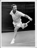 Rod Laver during the match against Nicola Pietrangeli in Wimbledon in 1969