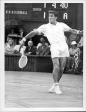 Ken Rosewall was in action during the match against Charlie Pasarell in Wimbledon in 1968