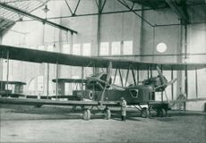Vickers vimy bomber in the hangar at westlands in 1918.