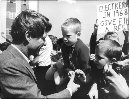 "Robert Francis ""Bobby"" Kennedy meeting kids."