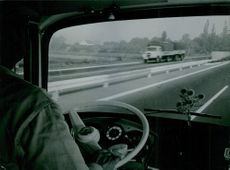 A view through the indoor of a vehicle running on the highway of Amsterdam.