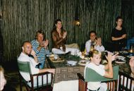 American tennis player Andre Agassi and his wife, actress Brooke Shields, at a dinner during a safari with friends John and Joni Pareni