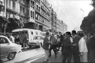Apparent riot in the road during the Algerian War, 1960.