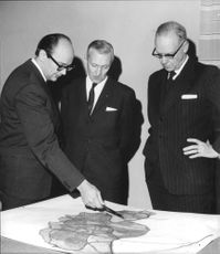 City architect Gösta Wikfors shows booksellers Sven Elfsström and Acting Rector Sten Ljunggren how you thought the town plan in Sigtuna