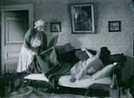 Marianne Löfgren and Sickan Carlsson in a  scene from the 1941 Swedish movie,