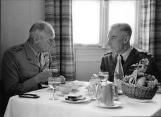 Bernard Montgomery having a coffee with a general. October 1954.
