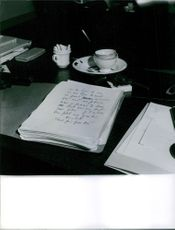 Vintage photo of Roger Vailland's manuscript on the table. Photo taken on May 17, 1965.