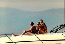 Princess Madeleine and Crown Princess Victoria with a friend aboard a yacht on the French Riviera