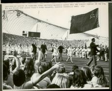 Russian wrestler Medwed usually held the flag on straight arm as he trampled around the stadium in front of the Russian Olympic team during the opening of the 1972 Olympic Games