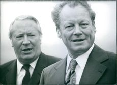 1973  A photo of British Prime Minister (left) Edward Heath and Chancellor of West Germany (right) Willy Brandt together during the latter's visit to Britain in the autumn of 1973.