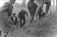 The Duke of Windsor climbing uphill from the golf course