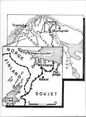 Map sketch of border posts between Norway, Finland and the Soviet Union.