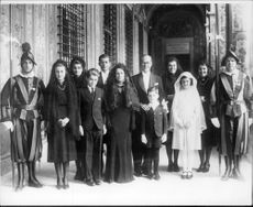 Joseph Kennedy with his wife and 8 of their 9 children during their visit to the Vatican - Year 1939