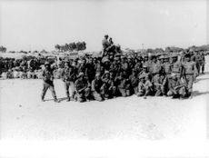 Soldiers in Israel posing for a group photo.