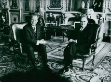 President Pompidou and Chancellor Willy Brandt  in Elysee Palace, Paris, 1972.