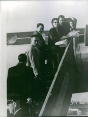 The Lao Royal Family of the Kingdom of Laos is on the staircase of the French Airways.