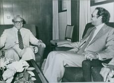 A photo of President Navon & Egyptian Ambassador Saad Mortada sitting in a conversation.