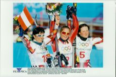 Michaela Dorfmeister, Austria, Picabo Street, USA and Alexandra Meissnitzer, took silver, gold and bronze in super G at Nagano OS.