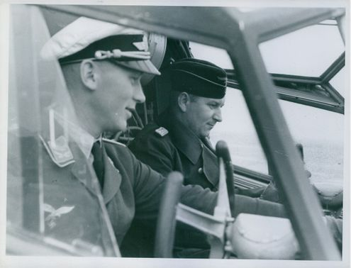Two pilots in the cockpit, 1940.