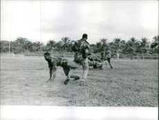 Soldiers on training in the field.