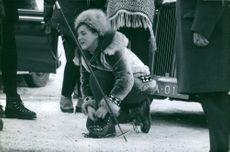 Princess Margriet tying her shoe lace, February, 1964.