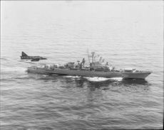 Soviet frigate of Krivaktyp photographed by a spatial wave SF 37