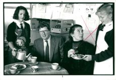Charles Prior with his wife meets school pupils