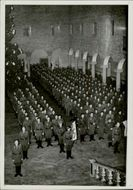 Swedish volunteers parade in the Blue Hall. 1941.