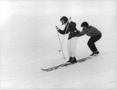 Princess Soraya skiing with Prince Orsini.