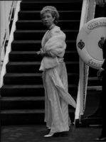 """Princess Christina at dinner aboard the ship """"Brittania"""" at the invitation of Queen Elizabeth"""