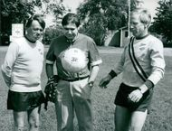 Swedish author Max Lundgren together with actor Olle Björling and football player Björn Nordqvist.