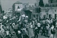 A photo of group of people during protesting during a civil war in Lebanon, 1969.