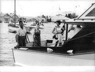Princess Margaretha with friends on boat.