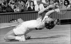 Stefan Edberg rejoices after becoming a Wimbledon winner in 1988