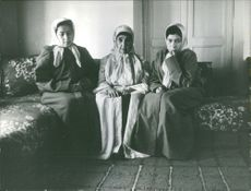 Three women sitting together on the sofa.  Photo taken on 1 Feb 1966