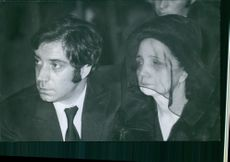 Fernandel with his wife, Henriette Manse in a funeral ceremony, 1971.