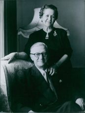Portrait of a South African personality and first President of the Republic of South Africa (since 1961) Mr. Charles Robberts Swart with his wife standing beside him. 1966