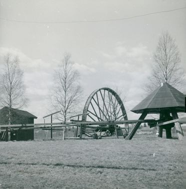"""The water wheel with a radius of 15 meters is a decorative feature of Ludvikas """"Gruv-Skansen"""""""