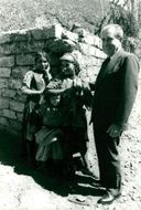 Richard Nixon meets local women while visiting a city in southern Morocco